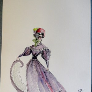 Rachel purple dress and bonnet. Pen and ink and watercolor. Signed.  From the Rachel Portfolio by Owen Hyde Clark.