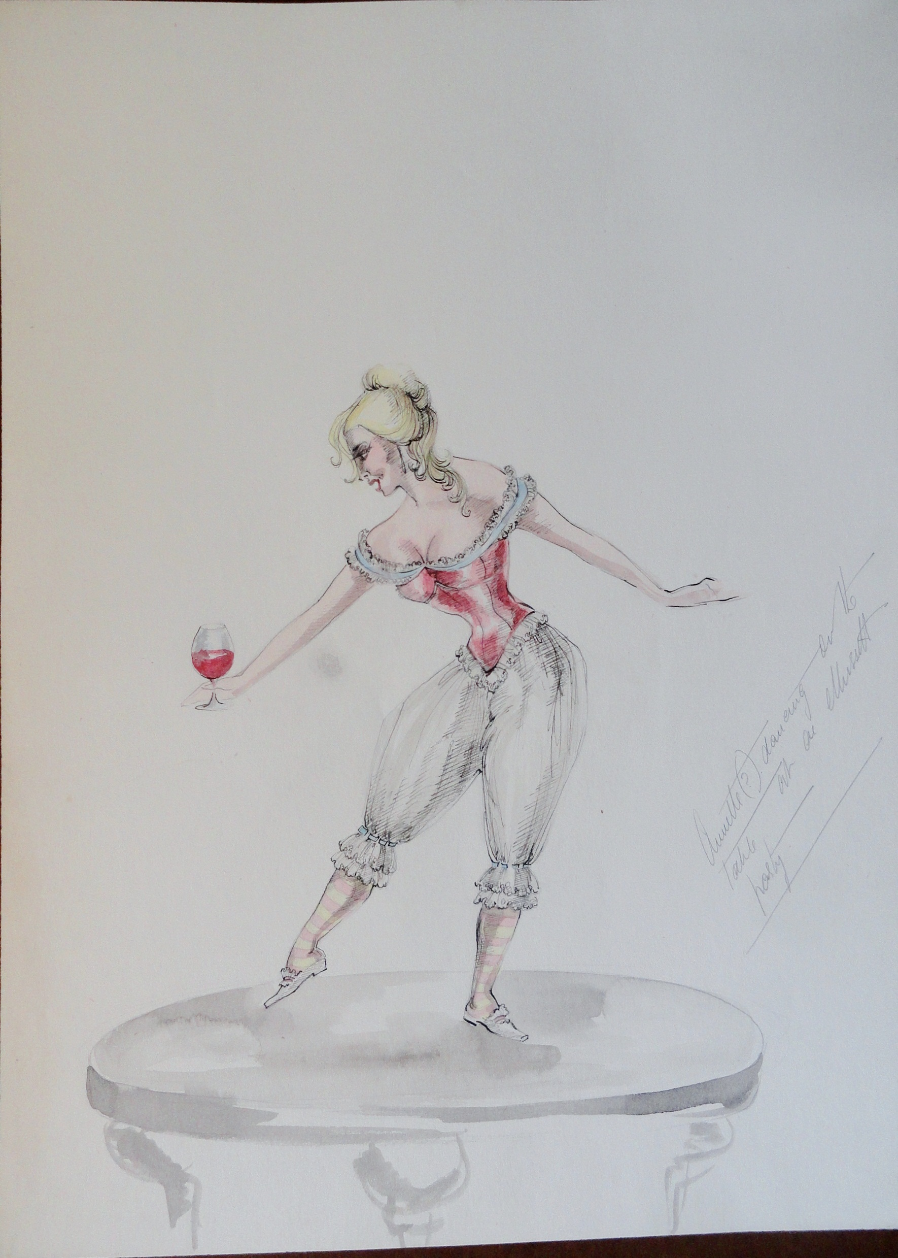 Rachels' sister Annette dancing on a table. Pen and ink and watercolor on paper. Unsigned, With artists notes. From the Rachel Portfolio by Owen Hyde Clark. $50.00
