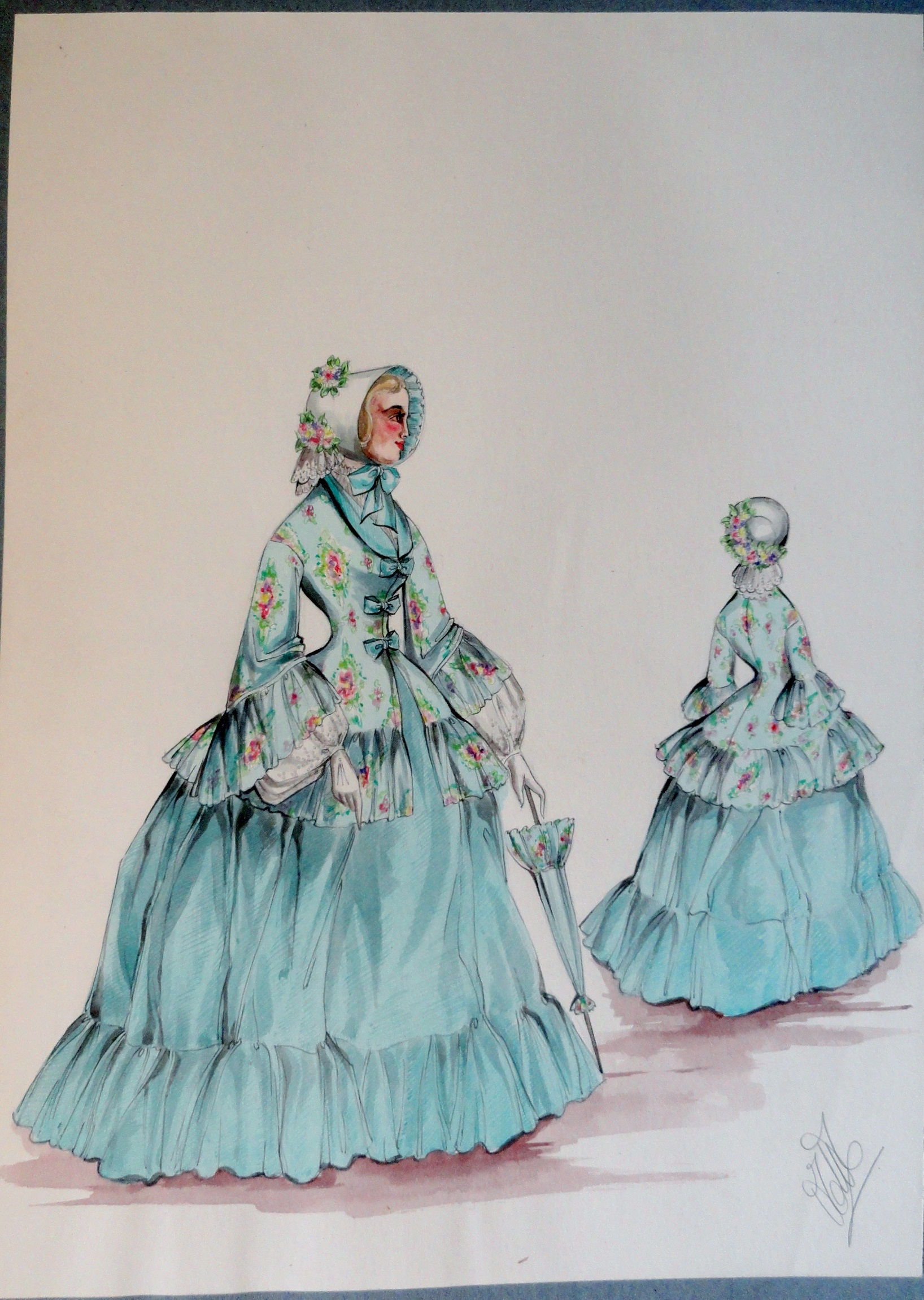 Rachel sister Annette in green gown and bonnet with parasol. Pen and ink and watercolor . From the Rachel Portfolio by Owen Hyde Clark.