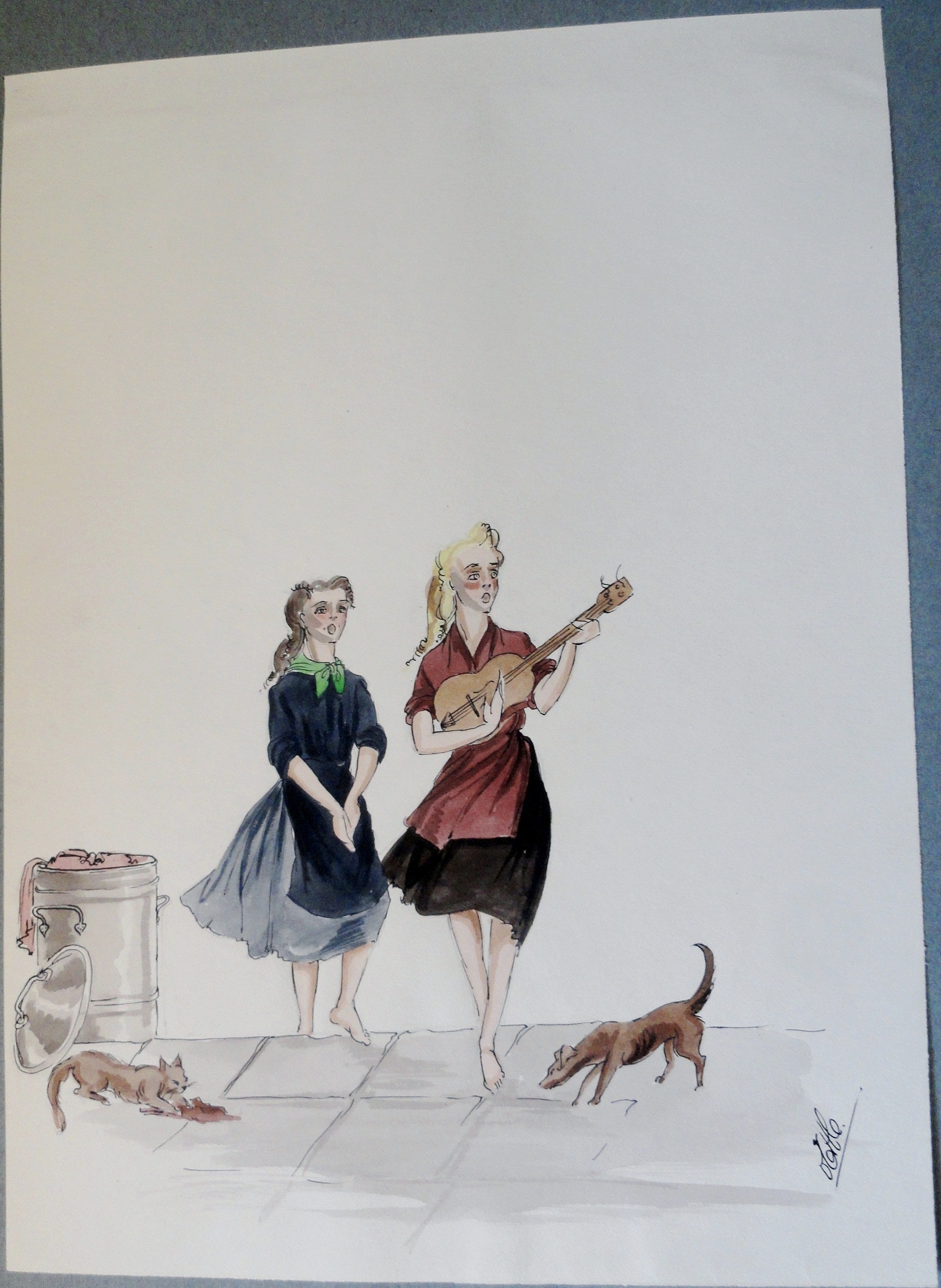 Rachel with her sister, dog, and cat. Pen and ink and watercolor . Signed.  From the Rachel Portfolio by Owen Hyde Clark.
