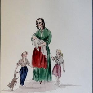 Young mama Felix with three kids and cat. Pen and ink and watercolor painting. Signed.  From the Rachel Portfolio by Owen Hyde Clark.