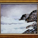 Mid Century Modern Seascape . Oil on canvas signed Parker