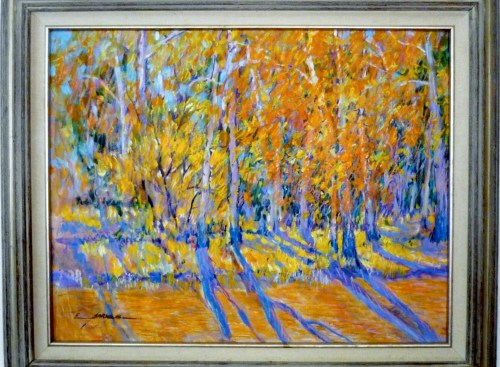 "Earline W. Barnes AUTUMN. 22"" x 28"". 29"" x 35"" framed Oil and pastel on board."