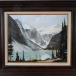Lake Louise by Frederick Priddat. Mid Century Canadian oil on canvas painting.
