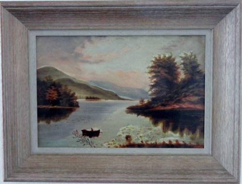 19TH Hudson River School lake scene with man in row-boat.