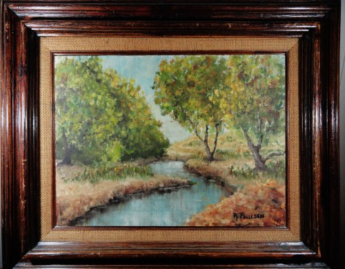 Autumn Creekside , Oil on board by R. Pallesen. mid-century American