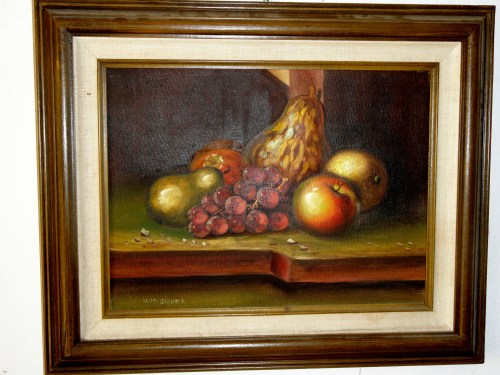 Still Life with Fruit oil on canvas painting by Wm Steiner . Mid Century American. MAKE OFFER
