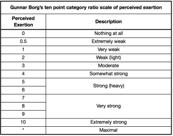 Borg 10 point scale
