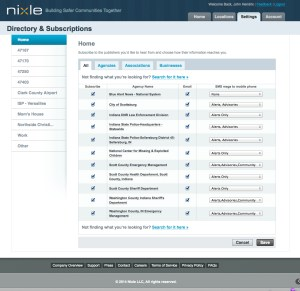 Nixle Settings Tab allows you to fine tune how you receive messages.