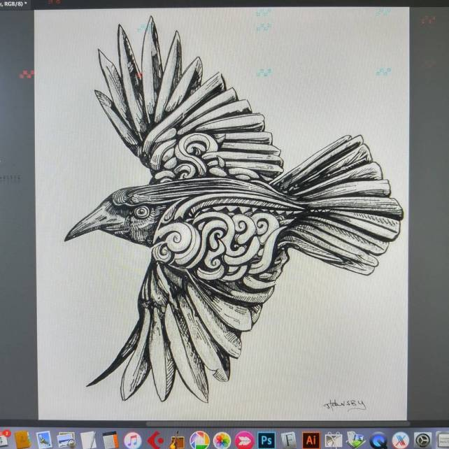 Taking a 5 minute break to do a little clean up on this soon to be tattoo for the wifey.  @aniliaj
