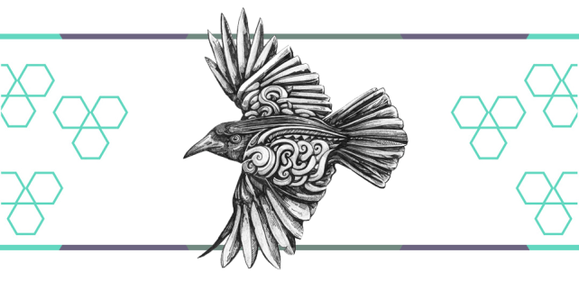 a drawing of a crow in flight