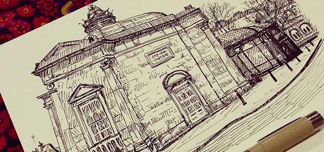 Sketch of the Royal Pump House Museum in Harrogate.