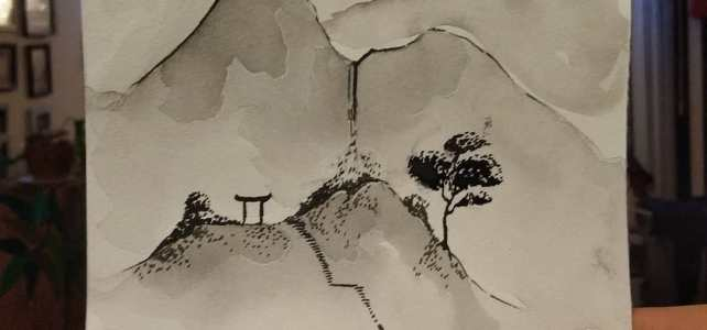 A little sumi-e-ish piece made with some Chinese ink I had laying about in my stash.  Also used a goose feather to draw some of the lines