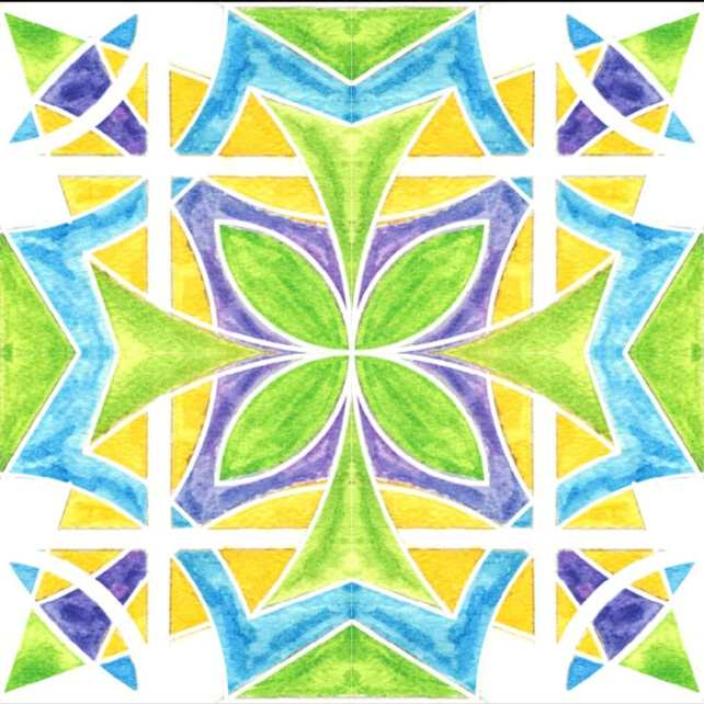 Here's a watercolor tile pattern I completed recently. I've really been diving into geometric designs and a pattern is a logical next step from those.  Stay tuned for some more progress on this and a fun little application of it in pattern form
