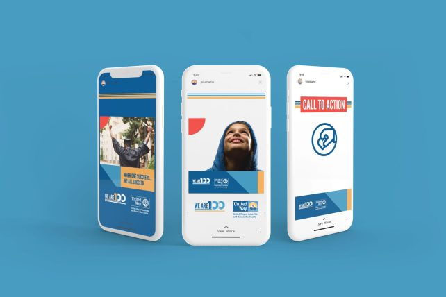 Three cell phones side by side with United Way campaign designs on the screens.