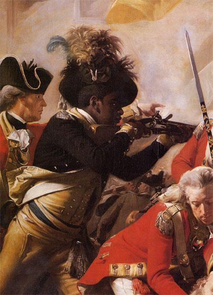 """Ausschnitt aus dem Gemälde """"Der Tod von Mayor Pierson,"""" (1782-84) Ölgemäldeoil von John Singleton Copley"""