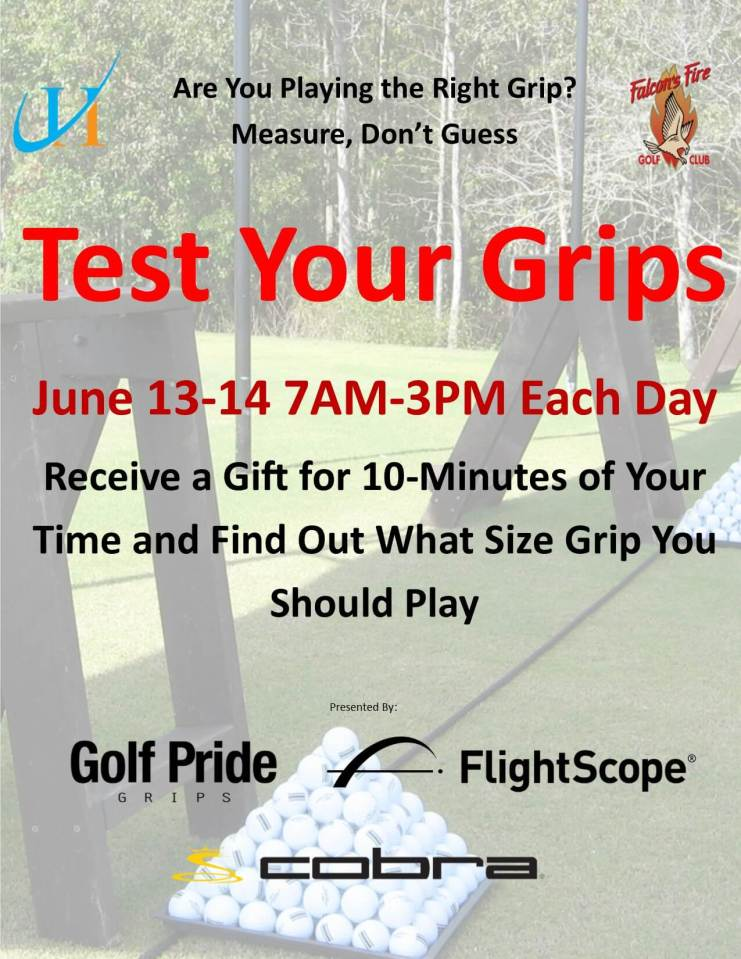 test Your Golf Grips, John Hughes Golf, Golf Lessons in Orlando, Best Golf Schools in Orlando, Golf Pride Grips, FlightScope, Cobra Golf, Falcon's Fire Golf Club, Best Orlando Golf Lessons, Best Orlando Golf Schools