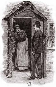 Paget illustration of the cottage doorway in YELL