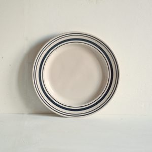 Black Linen Stripe Dinner Plate