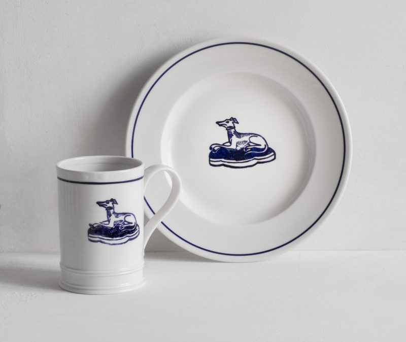 Porcelain Side Plate and Mug gift set stamped with blue whippet