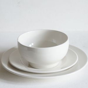 Three piece dinnerware set including Plain Porcelain Side Plate, Dinner Plate and Simple Bowl