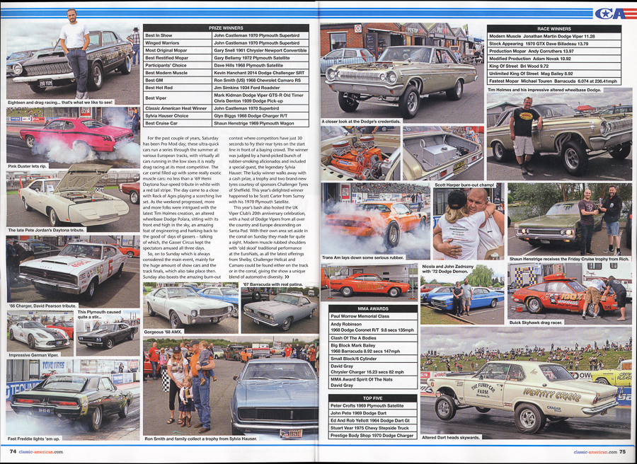 Classic American Magazine - number 306 October 2016 Cover - Editorial piece Mopar Euro Nationals - spread pages 2 and 3