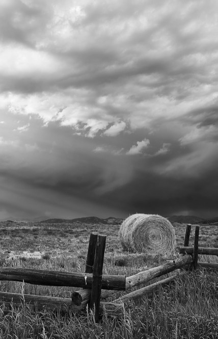 round bale storm clouds