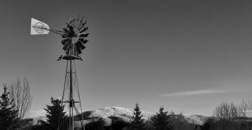 windmill with snow