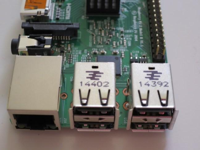 Raspberry pi 2 USB ports closeup