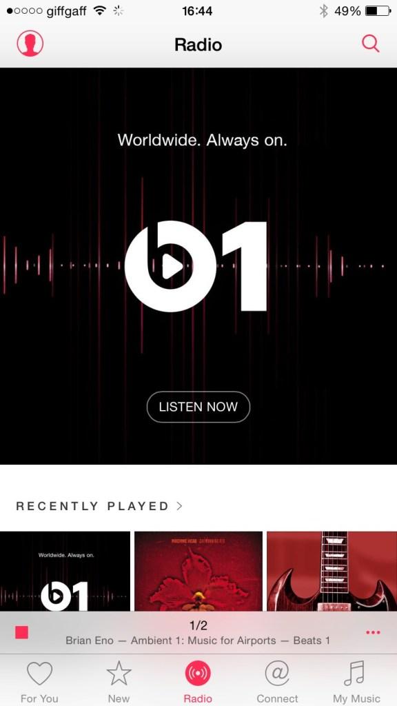 Beats 1 Radio & Apple Radio homescreen