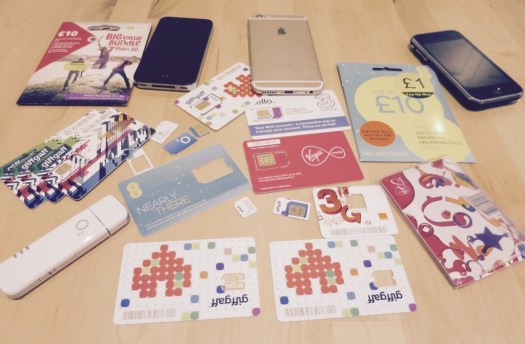 The selection of Sim cards used for my conrwall rural mobile phone test
