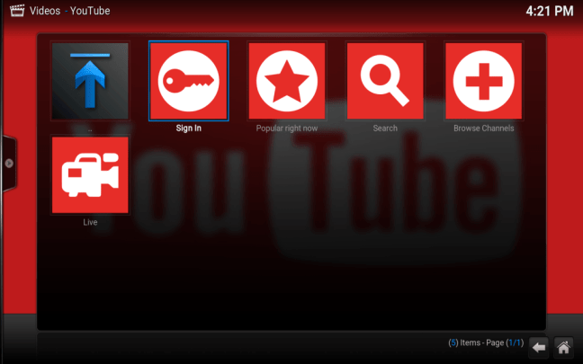 The initial YouTube sign in screen on Kodi
