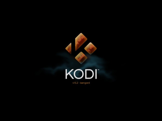 Kodi 15.2 Isengard splash screen on iOS 5.1.1