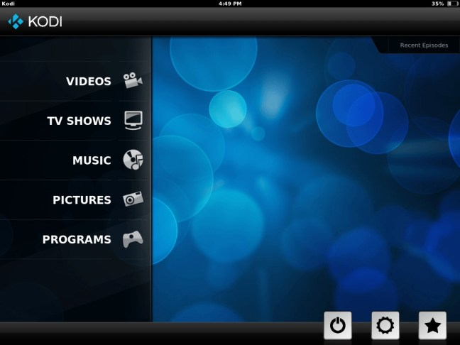 Main kodi menu with touch screen friendly skin