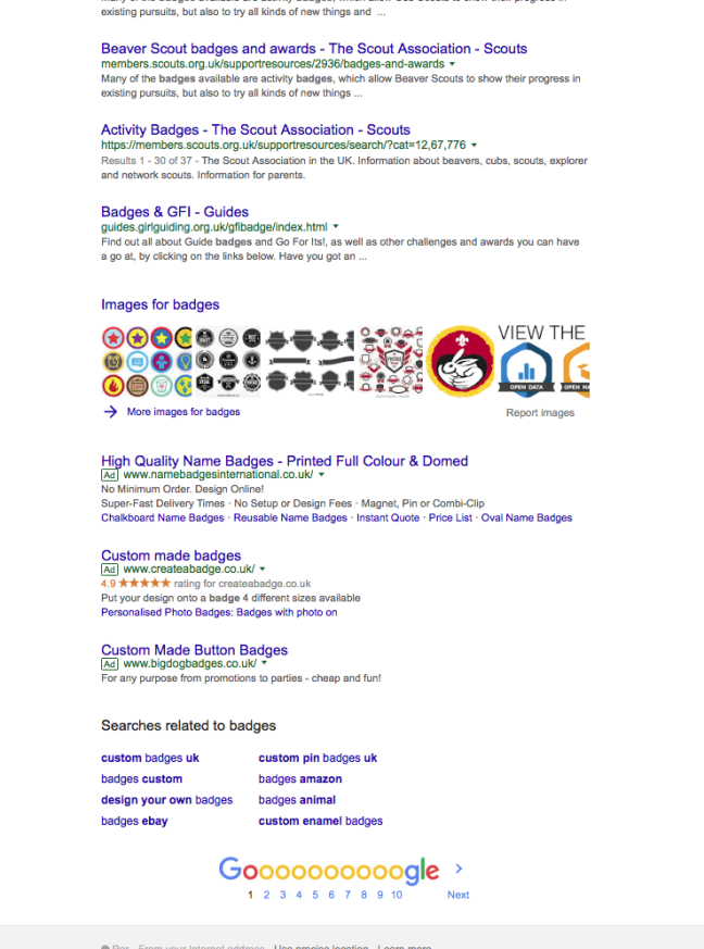 Google without adblock - below the fold