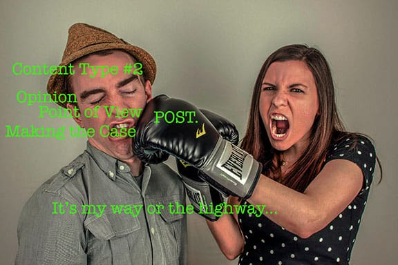 Image of a girl jokingly punching a man becase she is getting her point across using content type #2 making the case or the argument for an opinion.