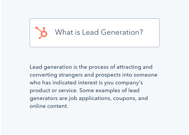 Screenshot of Hubspot's definition of lead generation
