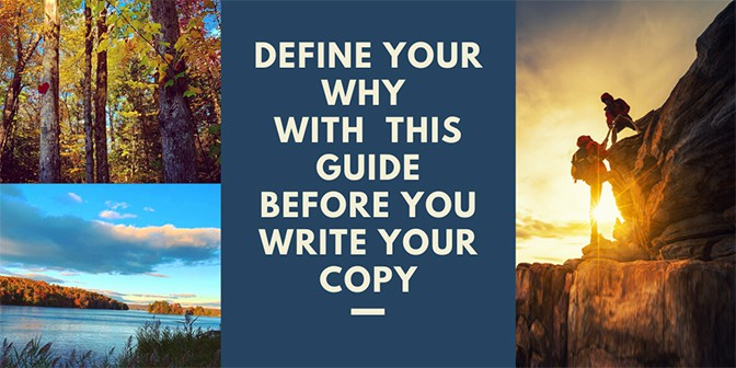 Download cover image to Define Your Why Workbook to work with  John Makohen freelance conversational copywriter in NYC