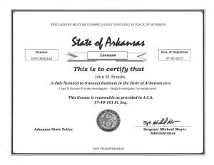 PI State License J Brooks