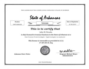 PI State License J Brooks