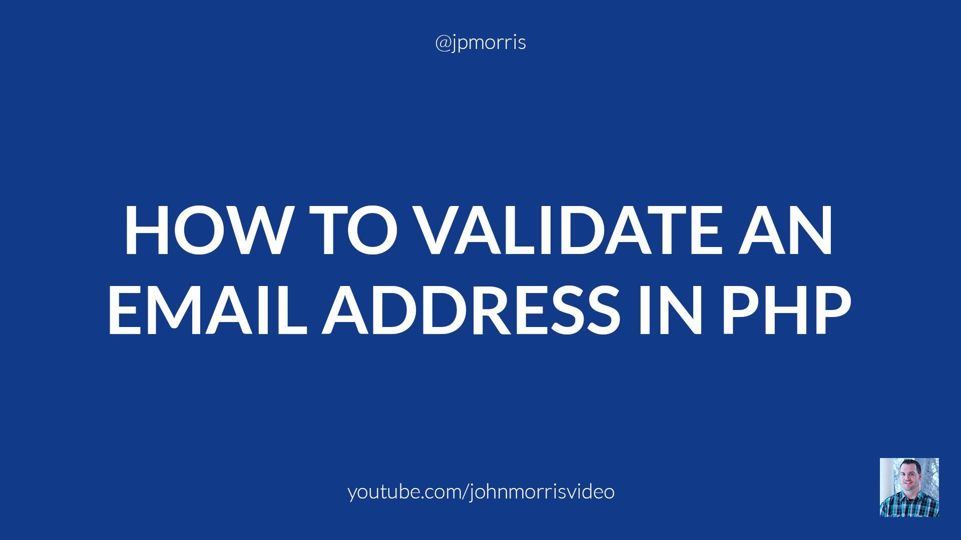 Validating email address php validator