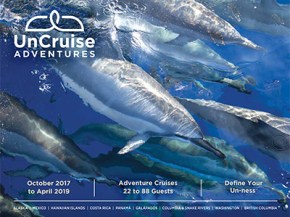 2018 omnibus brochure of small ship adventure cruises in Alaska, Costa Rica, Galapagos Islands, the Hawaiian Islands, Mexico's Sea of Cortes, Washington, and British Columbia, and river cruises on the Columbia & Snake Rivers.