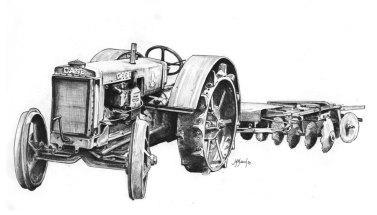 1989. Pencil Drawing Tractor Model C