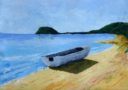 Beached Dinghy. Acrylic on 300gsm acid-free paper. A3 29cm x 42cm $280