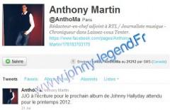 anthony martin twitter Johnny Hallyday