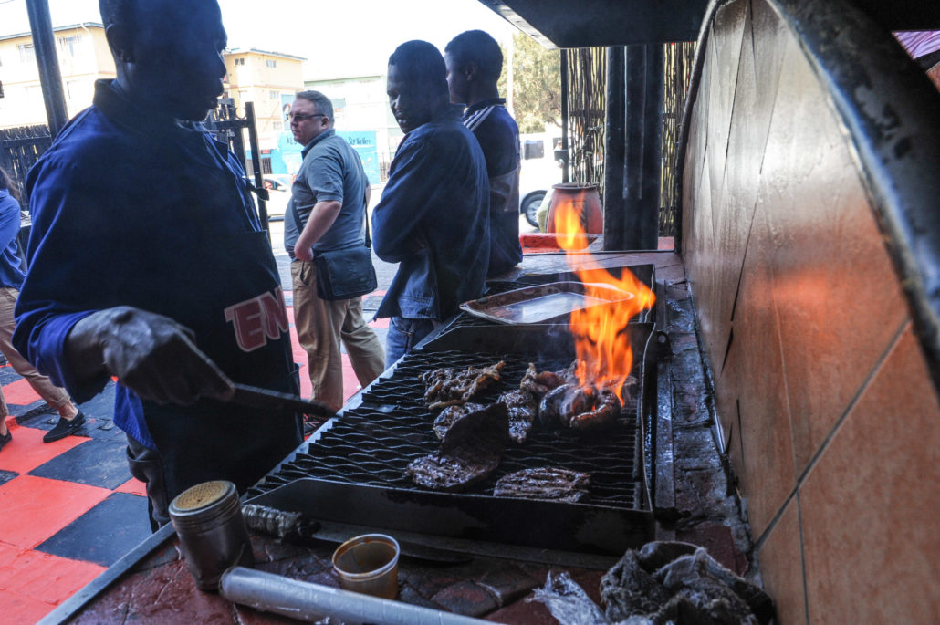 Braai at Joe's Butchery in Alexandra township, South Africa