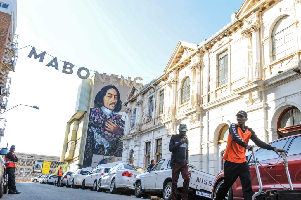 The neighborhood of Maboneng celebrates the arts with its many galleries and studios and music venues. Shown here is MOAD, an urban museum that specifically showcases African design work.