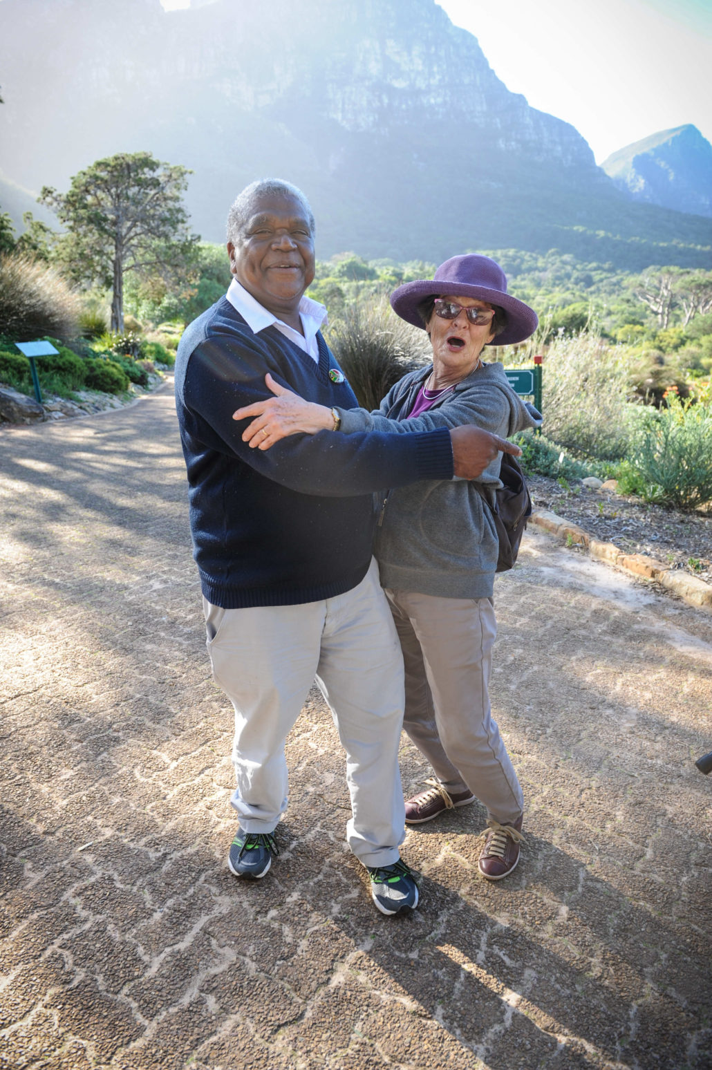 Andrew Phillip Jacobs, our guide for this day and 40-year employee at Kirstenbosch National Botanical Garden, engages with a volunteer who frequents the park