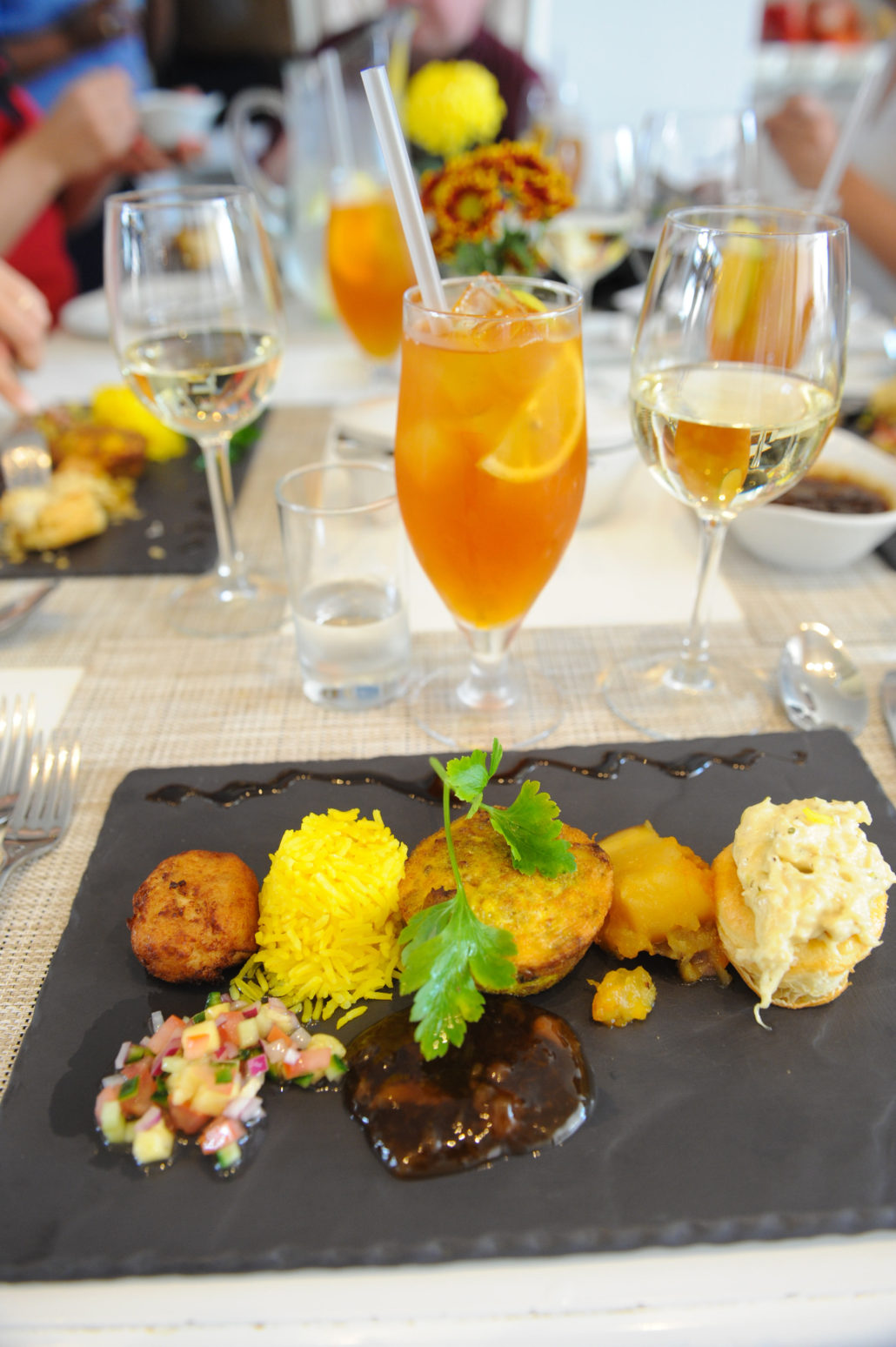 Trio of traditional dishes: bobotie with chutney, chicken pie and snooker fishcake, fish pate, sweet potato for lunch at the Oude Werf Hotel, Stellenbosch