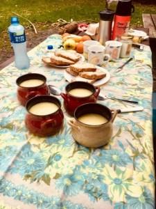 Soup at a picnic